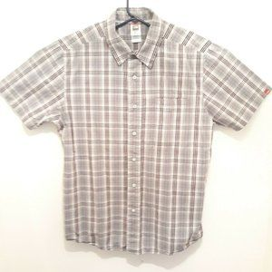 North Face Short Sleeve Button Down Mens L Gray